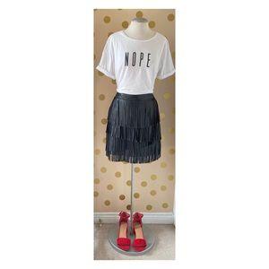Le Chateau - Fringe Pleather Mini Skirt
